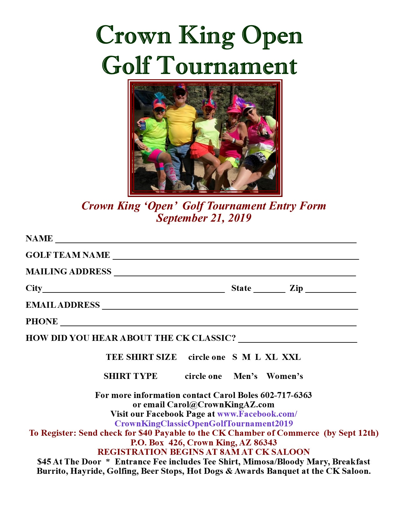 2019 Entry Form Golf Tournament